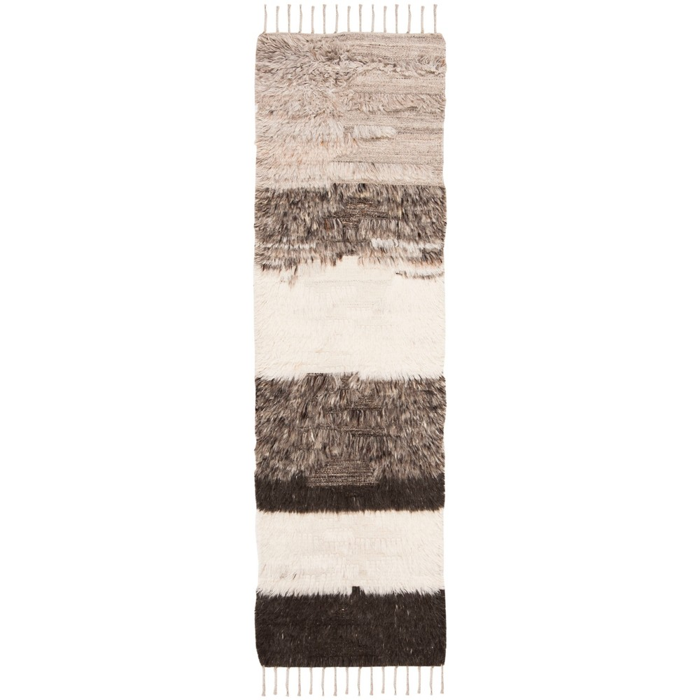 22X8 Stripe Knotted Runner Ivory/Gray - Safavieh Compare