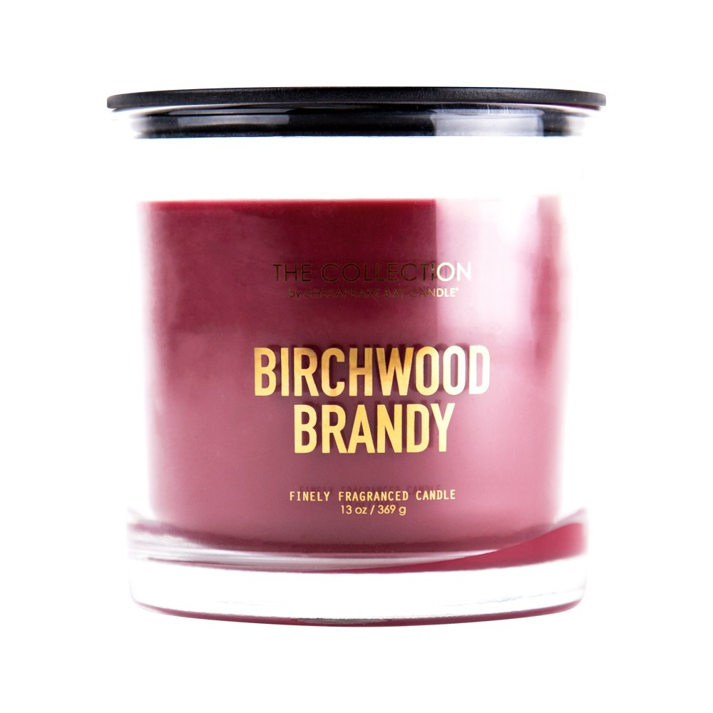 Image of 13oz Clear Jar 2-Wick Candle Birchwood Brandy - Chesapeake Bay Candle, Purple