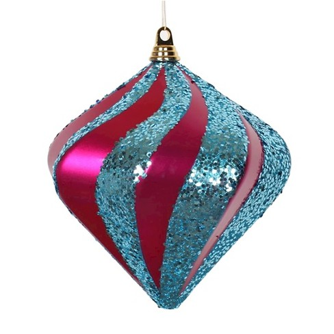 "8"" Cerise/Turquoise Candy Glitter Swirl Diamond Christmas Ornament - image 1 of 1"