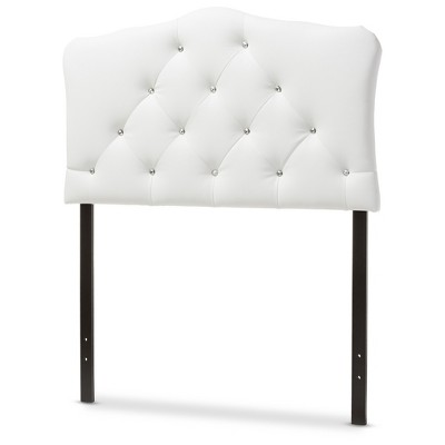 Myra Modern And Contemporary Faux Leather Upholstered Button - Tufted Scalloped Headboard - Twin - White - Baxton Studio