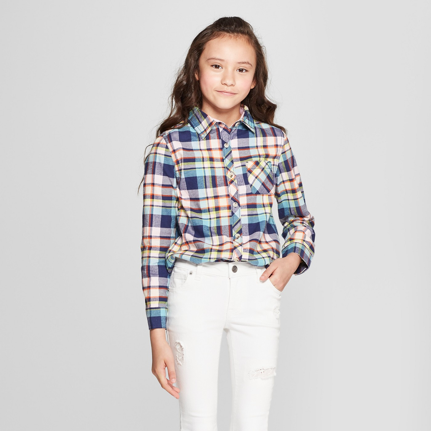 Girls' Woven Long Sleeve Button-Down Shirt - Cat & Jack™ Navy - image 1 of 3