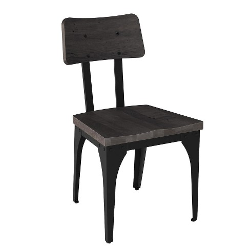 Woodland Metal Dining Chair With Distressed Wood Seat And Backrest 2 in Set - Amisco - image 1 of 1