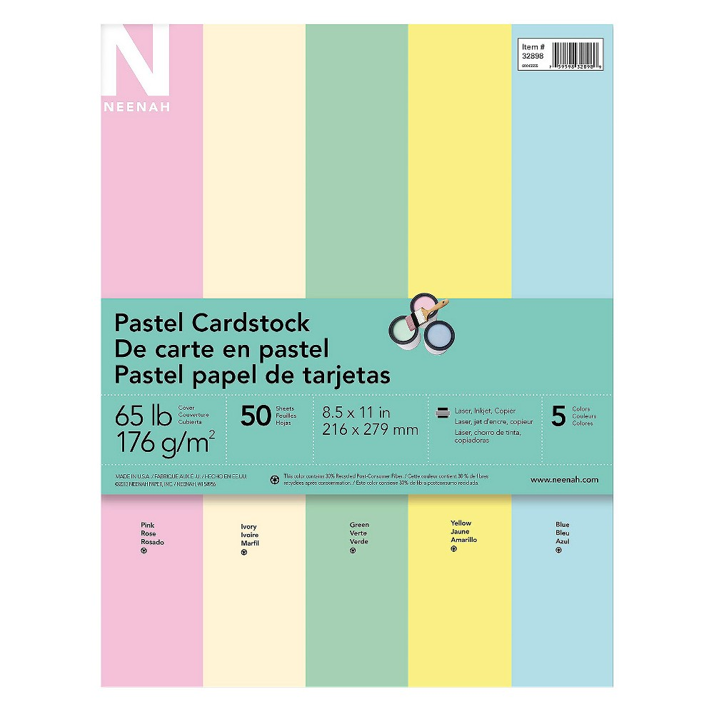 "Image of ""Neenah Pastel Cardstock, 8.5"""" x 11"""", 65lb/176 gsm, 5-Color Assortment, 50 Sheets"""