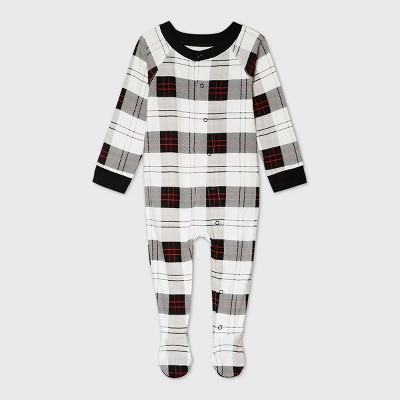 Baby Holiday Plaid Flannel Matching Family Footed Pajama - Wondershop™ White 6-9M