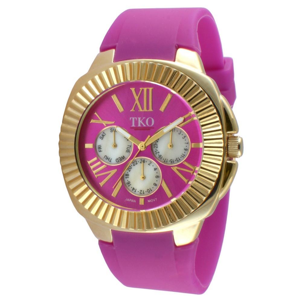 Women's Tko Multiple Function Rubber Strap Watch - Purple, Gold/Purple