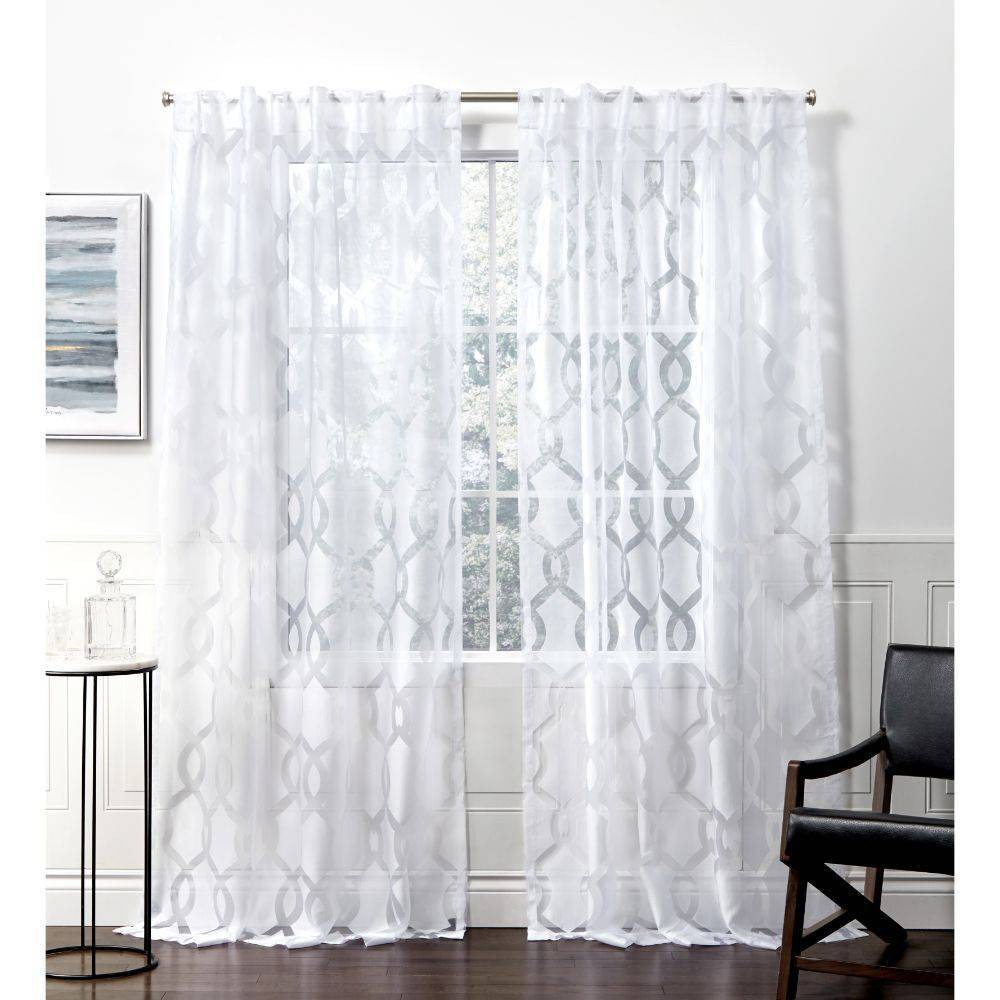 108 34 X54 34 Rio Back Tab Sheer Window Curtain Panels White Exclusive Home