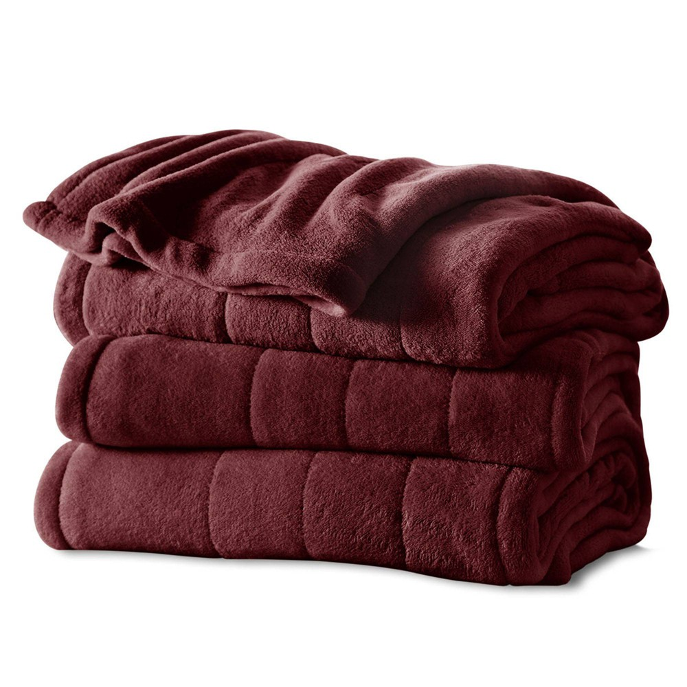 Image of Channeled Microplush Electric Blanket (Full) Garnet - Sunbeam