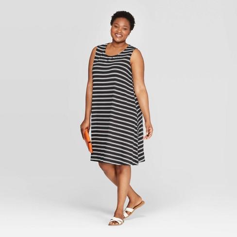 Women\'s Plus Size Striped Sleeveless Crewneck Knit A-Line Dress - Ava &  Viv™ Black/White 4X