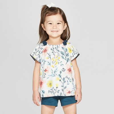 Toddler Girls' Short Sleeve Floral Blouse - Genuine Kids® from OshKosh Off-White 12M