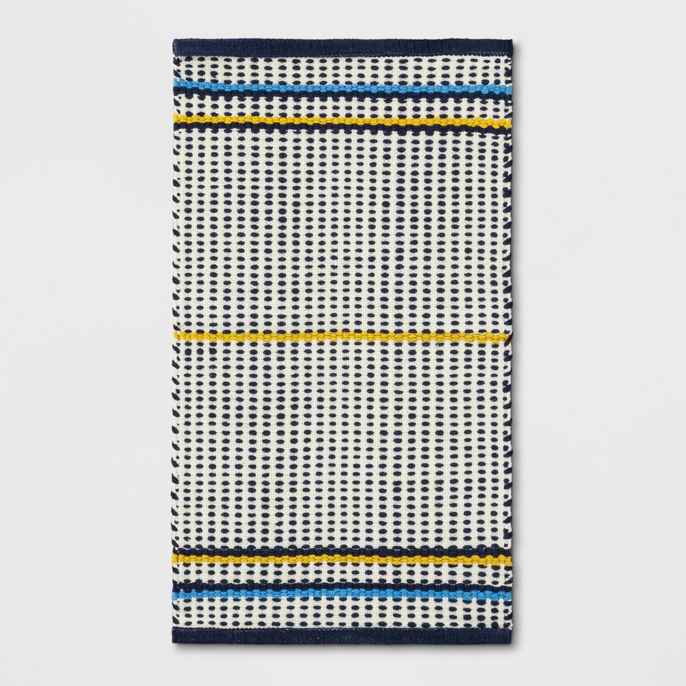 Blue Striped Woven Accent Rug 1'8