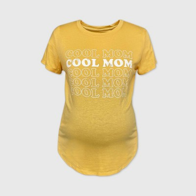 Maternity Short Sleeve Scoop Neck Cool Mom Repeat Graphic T-Shirt - Isabel Maternity by Ingrid & Isabel™ Yellow
