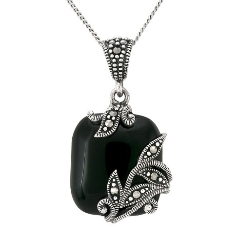 Marcasite and Onyx Pendant - Silver - image 1 of 1