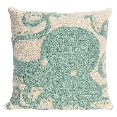 Aqua Octopus Indoor/Outdoor Throw Pillow (18 x18 )- Liora Manne