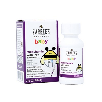 Zarbee's Naturals Baby Multivitamin with Iron - Grape - 2 fl oz
