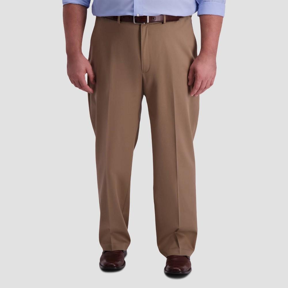 Haggar Men 39 S Big 38 Tall Premium No Iron Classic Fit Flat Front Casual Pants British Khaki 52x32