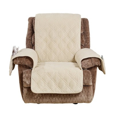 Wide Wale Corduroy Recliner Furniture Protector Cream - Sure Fit