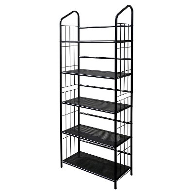 "64"" 5 Tier Metal Book Shelf Black - Ore International"