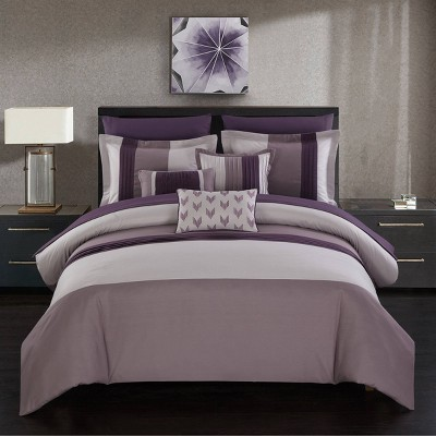 Queen 10pc Hester Bed In A Bag Comforter Set Plum - Chic Home Design