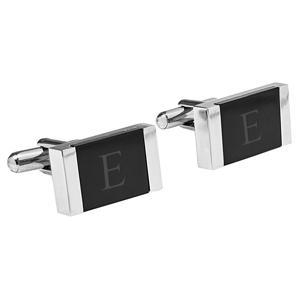 Image of Monogram Groomsmen Gift Faux Onyx Stainless Steel Cufflink - E, Men's, Black