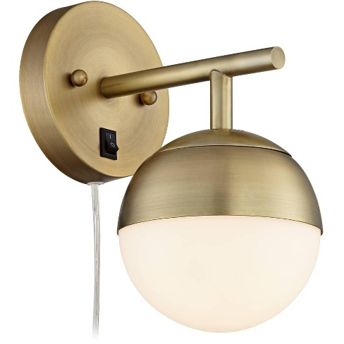 360 Lighting Mid Century Modern Wall Lamp Antique Brass Plug In Light Fixture Frosted Glass Globe For Bedroom Living Room Reading Target