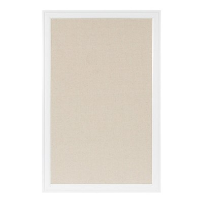 "27.5"" x 43.5"" Bosc Framed Linen Fabric Pinboard White - DesignOvation"