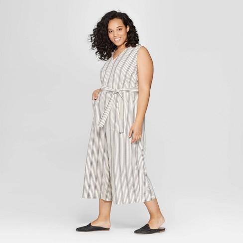 0505d324be8e Women s Plus Size Striped Sleeveless V-Neck Jumpsuit - Universal Thread™  White   Target