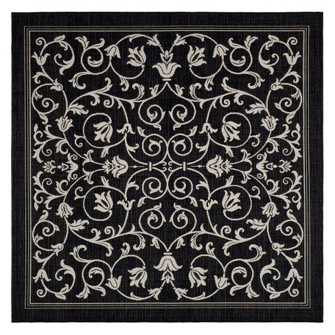 "Vaucluse Square 7'10"" X 7'10"" Outdoor Rug - Black / Sand - Safavieh® - image 1 of 1"