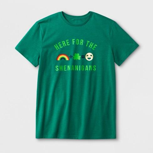 1f387efc0 Men's Short Sleeve 'Here For The Shenanigans' T-Shirt - Green : Target