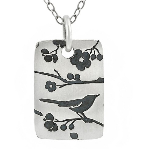 "Women's Journee Collection Rectangle Songbirds Pendant Necklace in Sterling Silver - Silver (18"") - image 1 of 2"