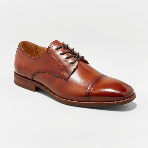 Men's Brandt Leather Cap Toe Oxford Dress Shoes - Goodfellow & Co™ Tan - image 1 of 3