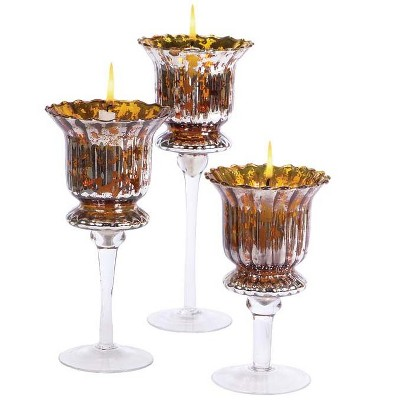 """Melrose Set of 3 Gold and Silver Distressed Votive Candle Holders 8"""" - 12"""""""