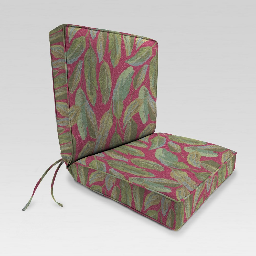 Outdoor Boxed Edge Dining Chair Cushion - Red/Green Leaves - Jordan Manufacturing