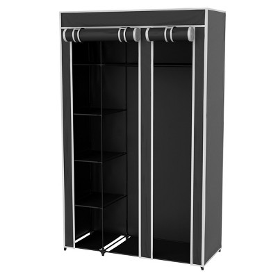 Hastings Home Freestanding Wardrobe Closet Organizer with Dust Cover – Black