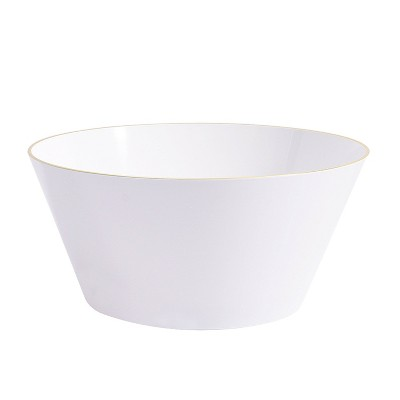 Serving Bowl White Plastic with Gold Rim - Spritz™
