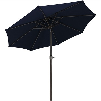 Sunnydaze Outdoor Aluminum Solution-Dyed Sunbrella Patio Umbrella with Auto Tilt and Crank - 9' - Navy Blue