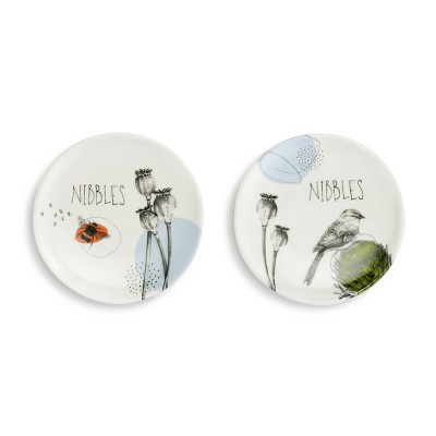 DEMDACO Nibbles Wine Appetizer Plates - Set of 2 White