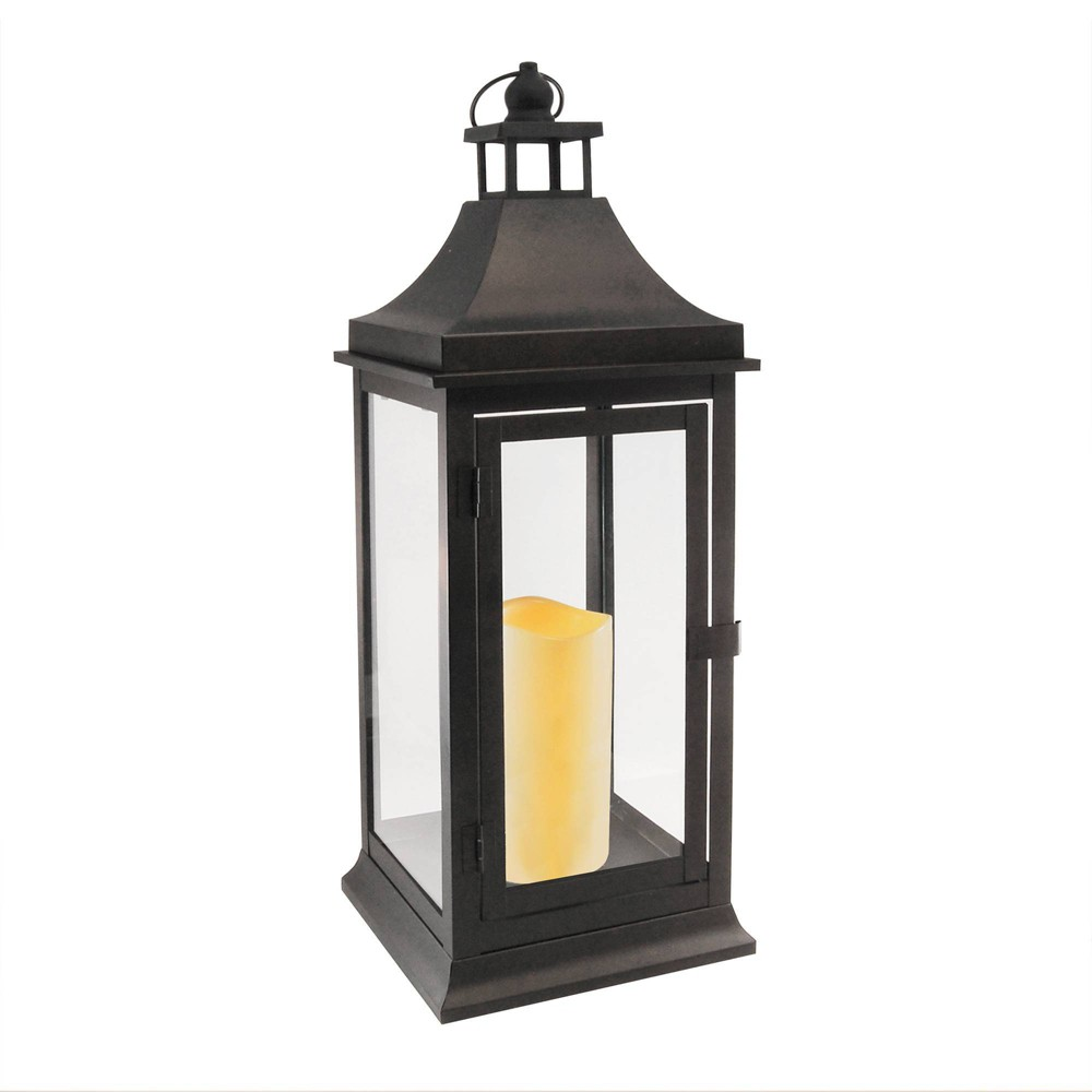 Image of Classic Tall Metal LED Lantern With Battery Operated Candle Matte Black - LumaBase