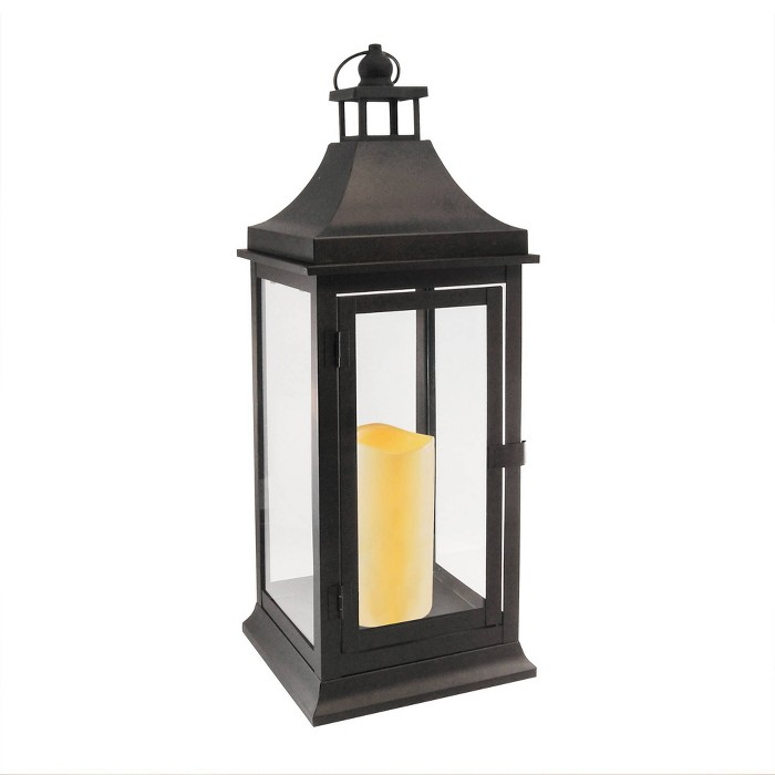Classic Tall Metal LED Lantern With Battery Operated Candle Matte Black - LumaBase - image 1 of 3