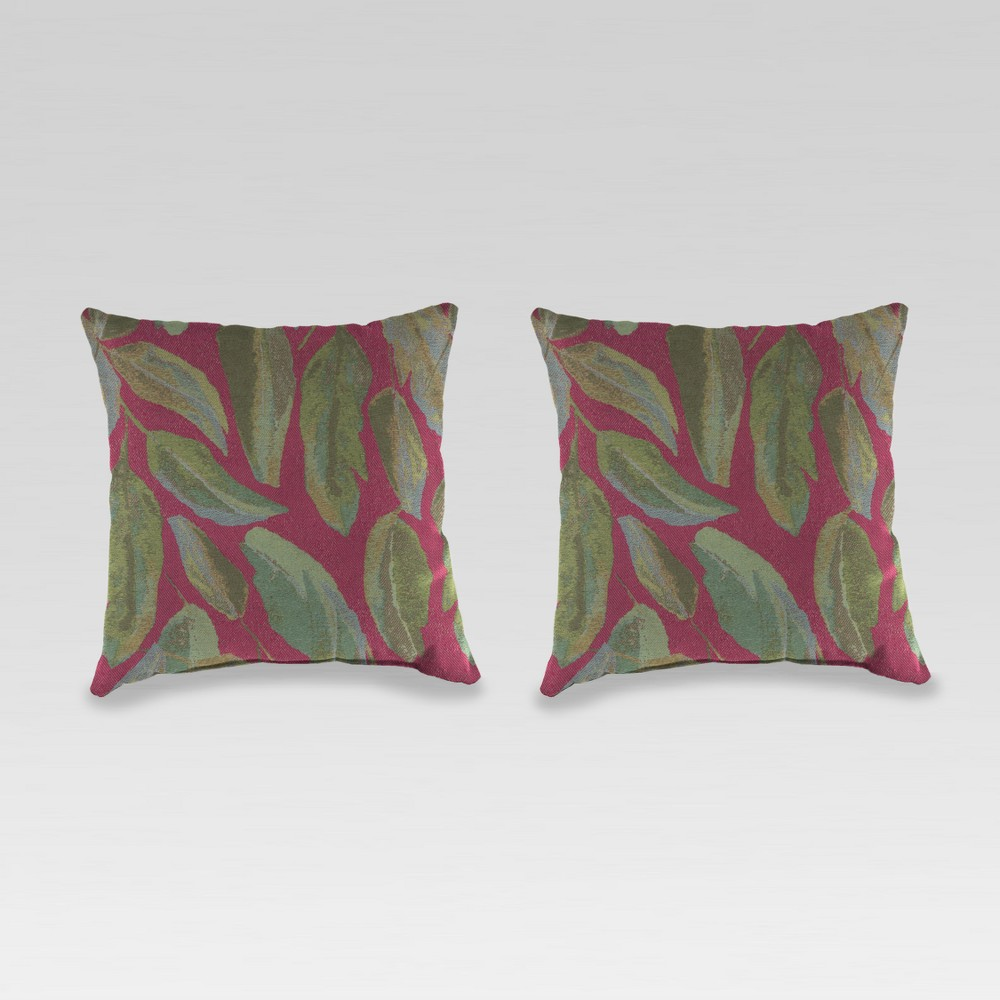 Outdoor Set of 2 Accessory Toss Pillows - Maroon (Red) - Jordan Manufacturing