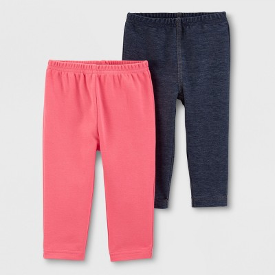 Baby Girls' 2pk Leggings - Just One You® made by carter's Navy/Pink 6M