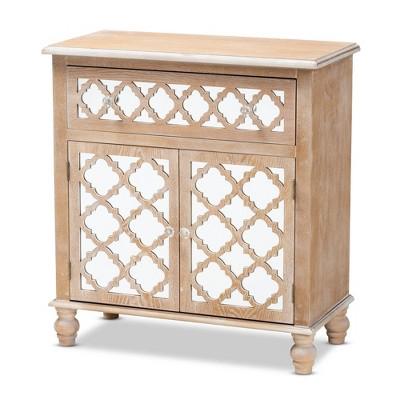 1 Drawer Leah Mirrored Storage Cabinet Whitewashed Brown - Baxton Studio