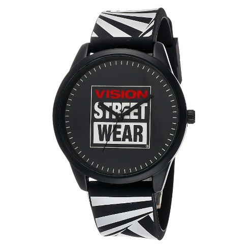 Men's Vision Street Wear® Analog Watch - Black with Zebra Strap - image 1 of 1