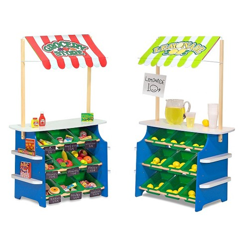 Melissa & Doug® Wooden Grocery Store and Lemonade Stand - Reversible Awning, 9 Bins, Chalkboards - image 1 of 6
