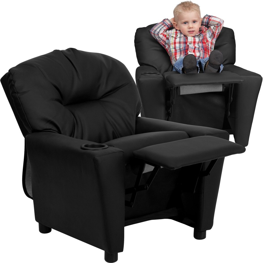 Riverstone Furniture Collection Leather Kid's Recliner Black