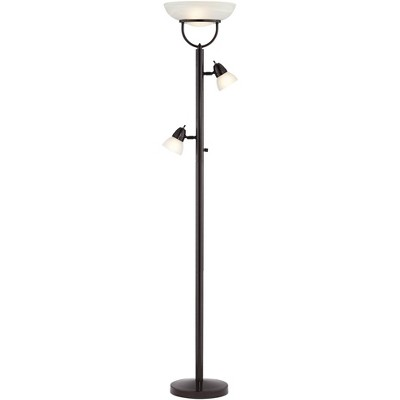 360 Lighting Modern Torchiere Floor Lamp 3-in-1 Design Tiger Bronze White Glass Shades for Living Room Reading Bedroom Office