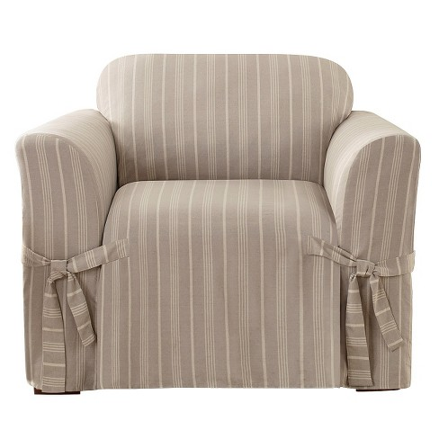 Linen Grainsack Stripe Chair Slipcover - Sure Fit® - image 1 of 2