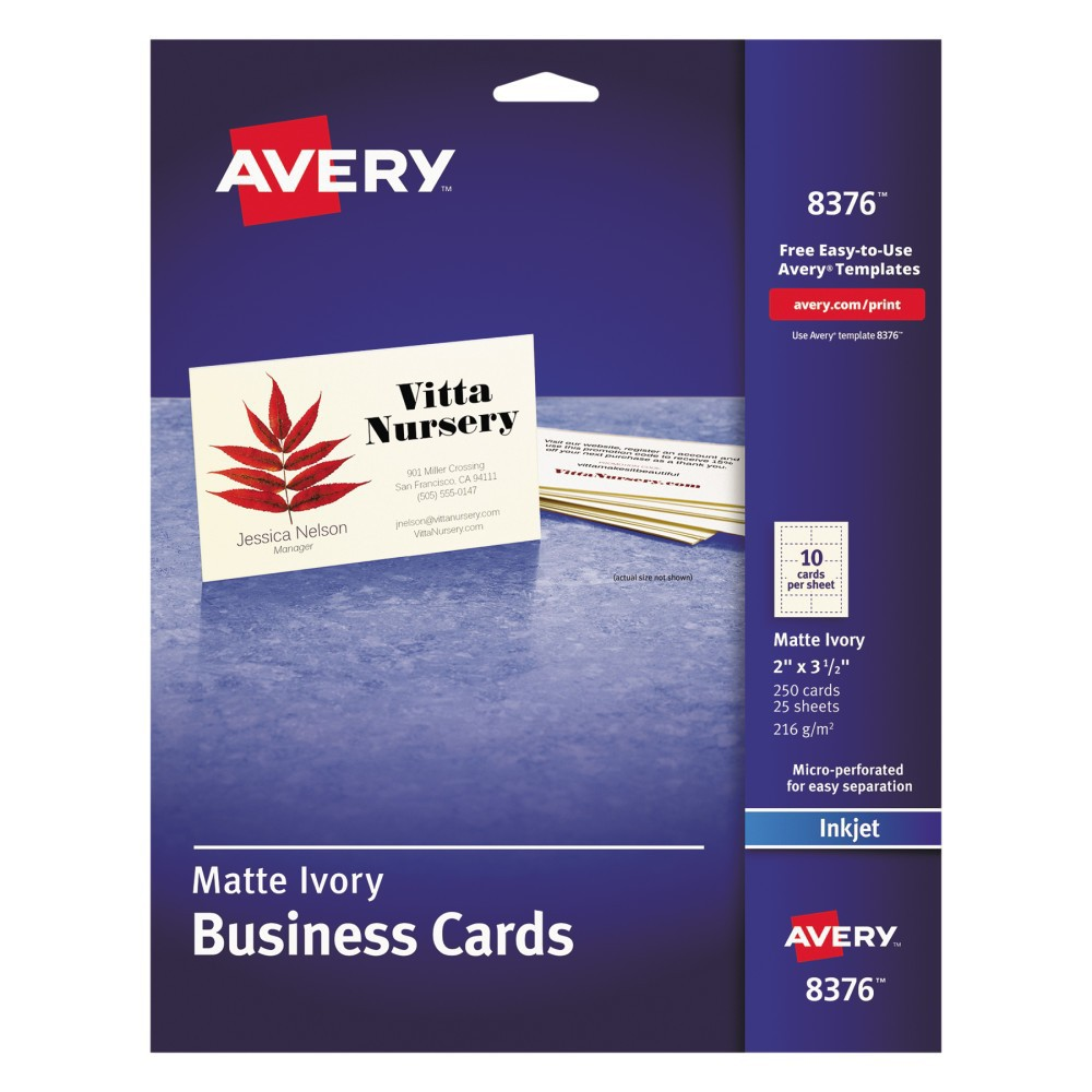 Avery 2 x 3-1/2 Inkjet Two Side Printable Business Cards - Ivory (250 pk)