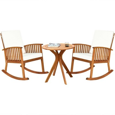 Costway 3PCS Patio Rocking Chair Set Round Table Solid Wood Cushioned Sofa Garden Deck