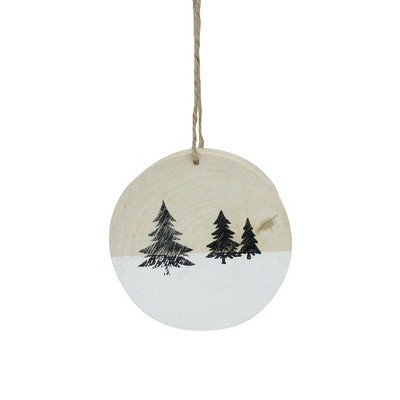 """Northlight 3.9"""" Winter Pine Trees on Wood Disc Christmas Ornament"""