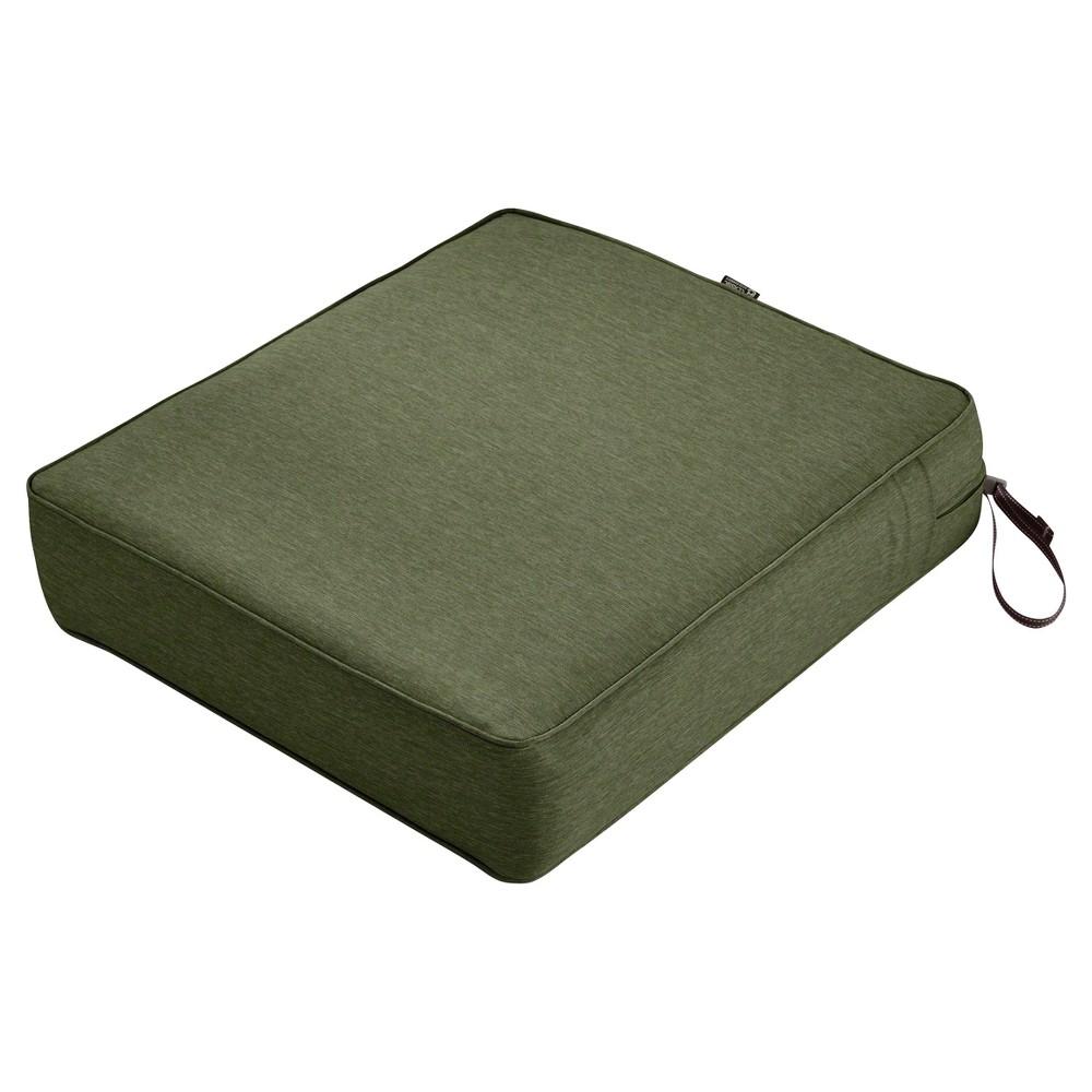 Image of Montlake Fadesafe Rectangular Patio Lounge Seat Cushion Set - Heather Fern Green - Classic Accessories